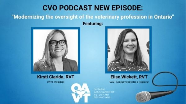 Photo promoting a podcast episode from the College of Veterinarians of Ontario with guests from the OAVT